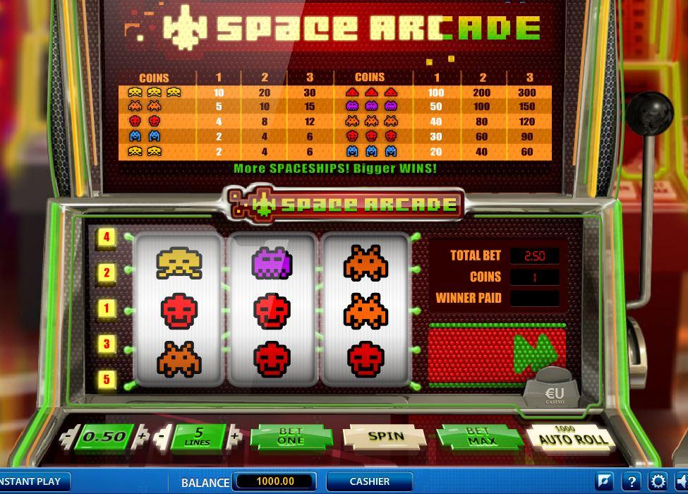 Space Arcade -peli jonka on valmistanut pelituottaja SkillsOnNet